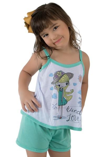 Babydoll de Malha Infantil 035 (Verde Piscina) | Ref.: CEZ-PA035-005