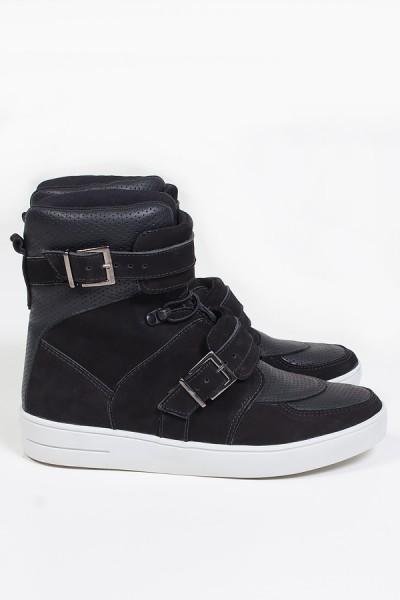 Sneaker Cano Alto Nobuck com Fivela e Elástico (Preto) | Ref: KS-T48-001