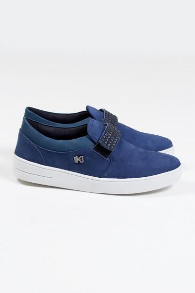 Tênis Mini Sneaker com Velcro (Nobuck Jeans) | Ref: KS-T43