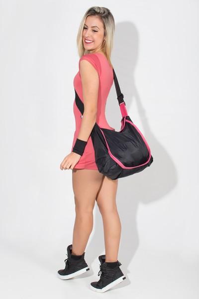 Bolsa Esportiva de Nylon Preta com Viés Rosa | Ref: F967