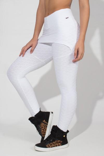 Calça Saia Tecido Bolha (Branco) | Ref: KS-F225-002