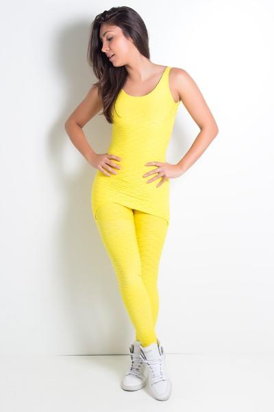 Macacão com Tapa Bumbum Tecido Bolha (Amarelo) | Ref: KS-F262-006