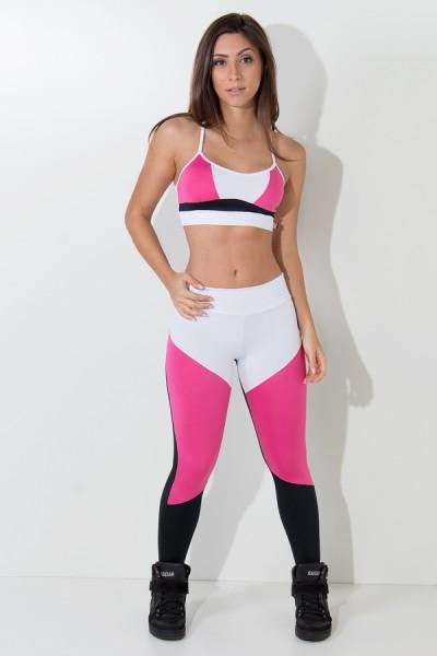 Top de Alcinha Nadador Três Cores (Branco - Rosa Pink - Preto) | Ref: KS-F1733-001