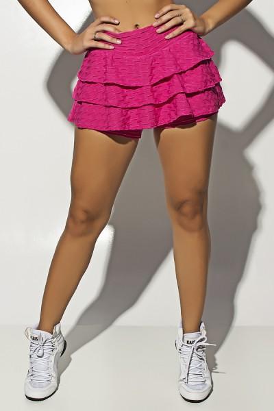 Short Saia Thais Tecido Bolha com Babado (Rosa Pink) | Ref: F1449