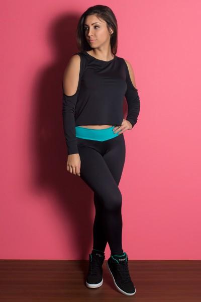 Legging Lisa com Cós Baixo Colorido (Preto / Verde Esmeralda) | Ref: KS-F1931-001