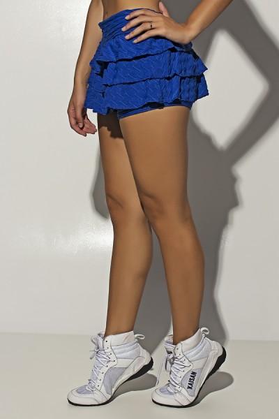 Short Saia Thais Tecido Bolha com Babado (Azul Royal) | Ref: F1450