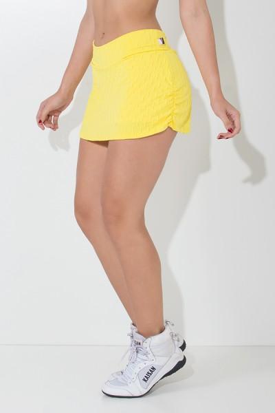 Short Saia Liz Tecido Bolha (Amarelo) | Ref: KS-F264-002