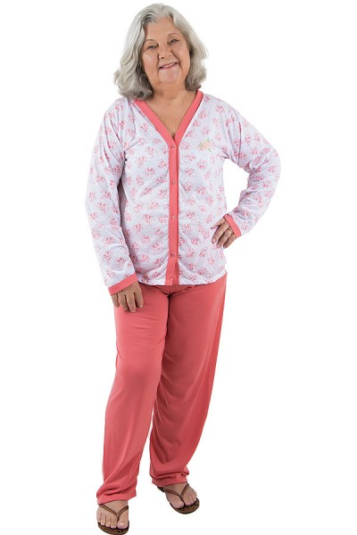 Pijama feminino longo 182 (Goiaba)    Ref: CEZ-PA182-011