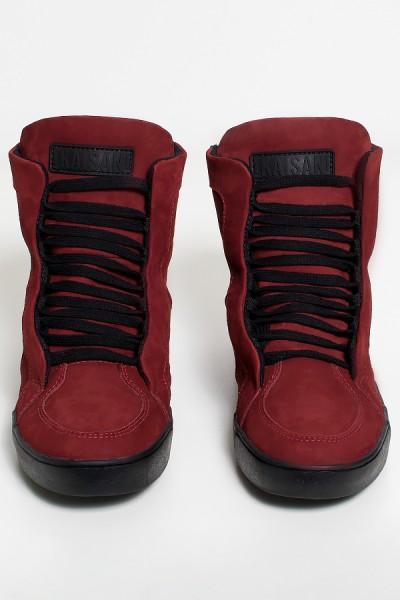 Sneaker Nobuck com Fecho (Vinho com Sola Preta)| Ref: KS-T53-004