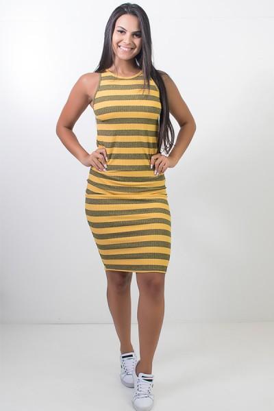 Vestido Listrado Midi Comprido (Amarelo)   Ref: CEZ-CZ601-002
