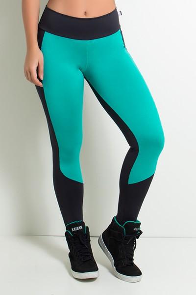 Calça Legging Duas Cores Suplex (Preto / Verde Esmeralda) | Ref: KS-F34-001