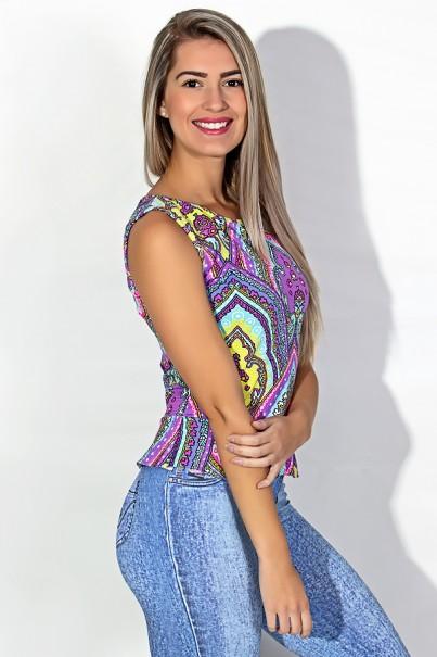 Blusa Blake Estampada com Babado (Indiano Amarelo Azul e Rosa) | Ref: KS-F443-002