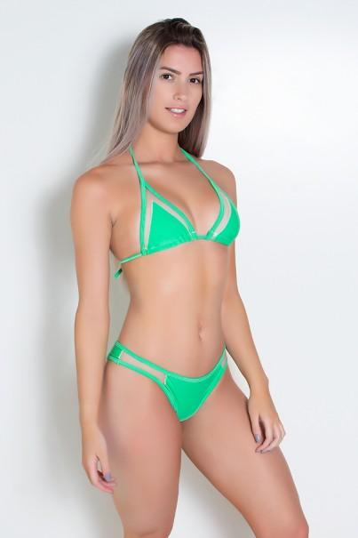 Biquini Liso com Tule (Verde) | Ref: DVBQ07-004