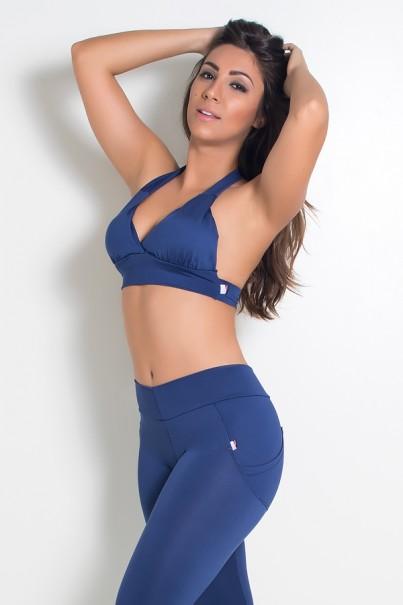 Top Diana Liso com Bojo (Azul Marinho) | Ref: KS-F314-003