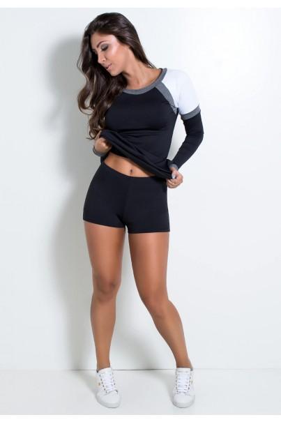 KS-F2083-001_Vestido_Fitness_Manga_Longa_com_Detalhe_Mescla_Preto__Branco__Mescla__Ref:_KS-F2083-001