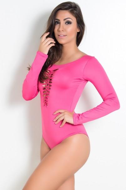 F688-004_Body_Manga_Longa_Liso_com_Detalhe_Trancado_Rosa_Pink__Ref:F688-004