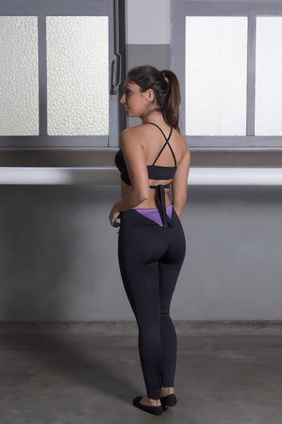 Legging Lisa Suplex com Detalhe no Cós (Preto / Lilás) | Ref: KS-F1782-001