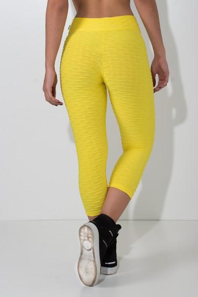 Calça Corsário Tecido Bolha (Amarelo) | Ref: KS-F105-003