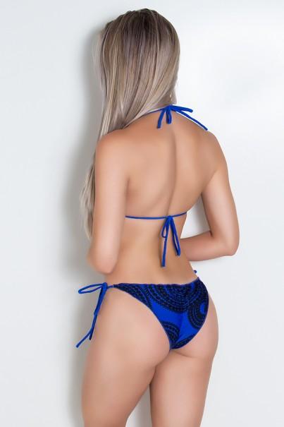 Biquini Levanta Bumbum com Calcinha Estampada (Azul Royal / Azul Royal com Espiral Preto) | Ref: DVBQ10-006