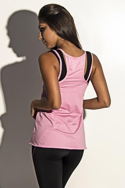 Camiseta de Microlight Nadador com Alça Dupla (Rosa Bebê) | Ref: KS-F1022-011