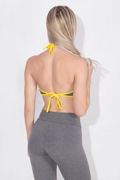 Top Frente Unica Mescla Com Viés Colorido de Amarar (Mescla / Amarelo) | Ref: KS-F1798-005