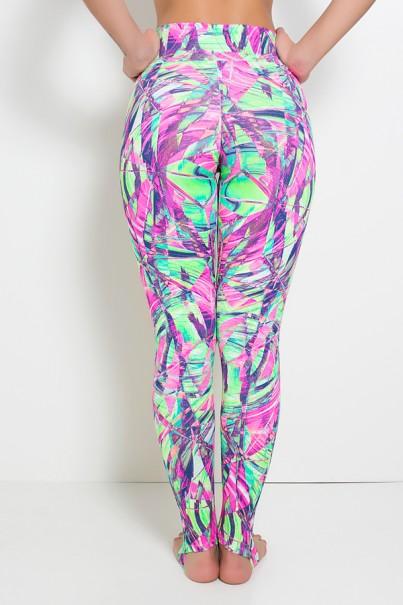 Calça Legging Estampada com Pezinho (Folhagem Rosa Fluor e Verde Limão) | Ref: KS-F192-004