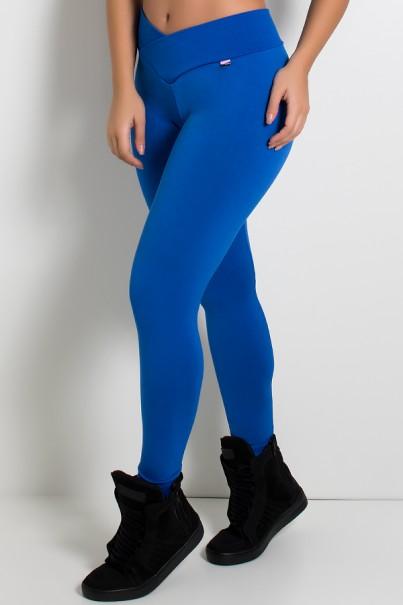 Legging Rafaela Lisa com Cós Transpassado (Azul Royal) | Ref: KS-F465-003