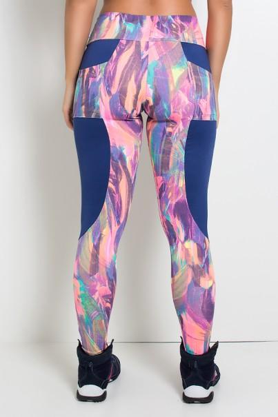 Calça Estampada com Detalhe Liso e Bolso traseiro Estampado (Borrado Azul Laranja E Rosa Fluor / Azul Marinho)   Ref: KS-F248-001