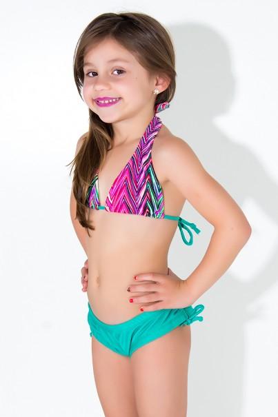 Biquini Cortinão com Calcinha Lisa Infantil (Setas Verde Rosa e Roxa / Verde Esmeralda) | Ref: DVBQ24-002