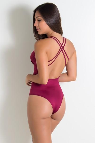 Body Liso com Tiras (Vinho) | Ref: KS-F947-006