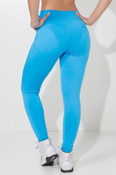 Calça Levanta Bumbum com Bolso (Azul Celeste) | Ref: KS-F488-004
