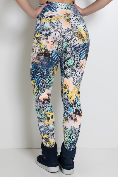 Legging Estampada (Floral com Oncinha)   Ref: KS-F27-075