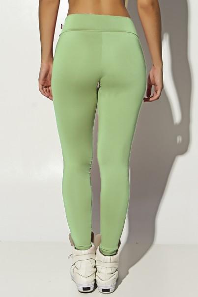 Calça Katherine com Bolso em Detalhe Dry Fit (Verde Claro / Branco)   Ref: KS-F690-008