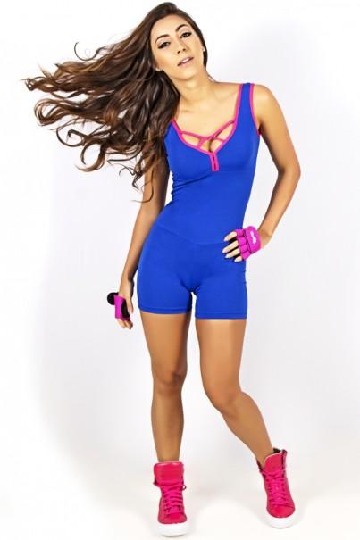 Macaquinho Liso com Detalhe Trançado (Azul Royal / Rosa Pink) | Ref: KS-F720-001