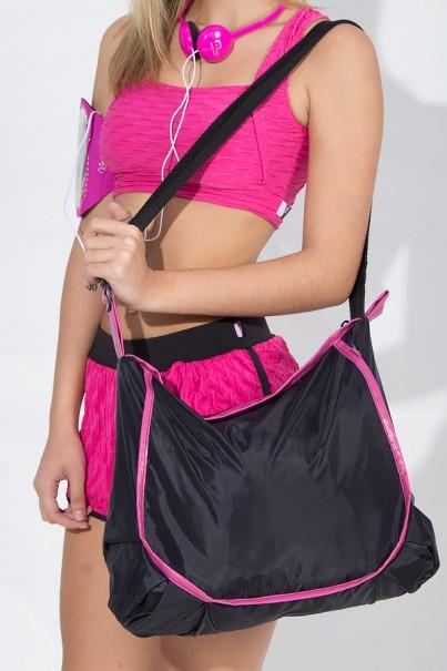 Bolsa Esportiva de Nylon Preta com Viés Rosa Pink | Ref: F965