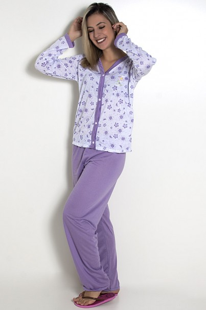 Pijama feminino longo 182 (Lilás)