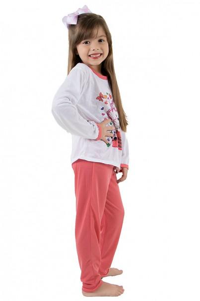 Pijama longo infantil 076 (Goiaba) Ref: CEZ-PA076-003