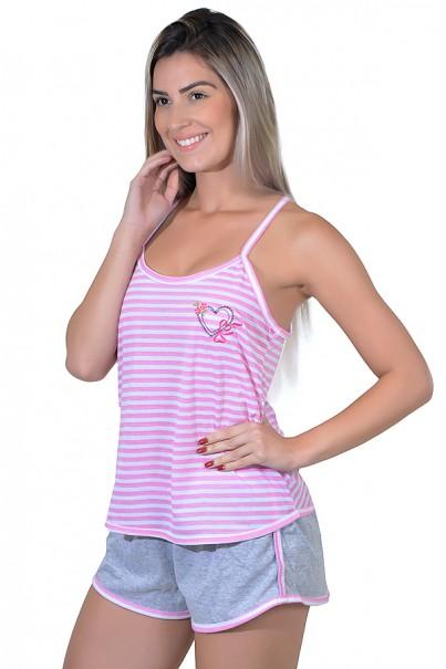Babydoll Feminino 258 (Rosa com bordado)   Ref: CEZ-PA258-006