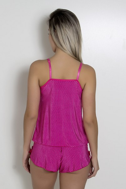 Babydoll de liganete 085 (Pink com poá branco)