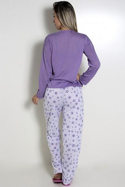 Pijama feminino longo 248 (Lilás com borboletas)