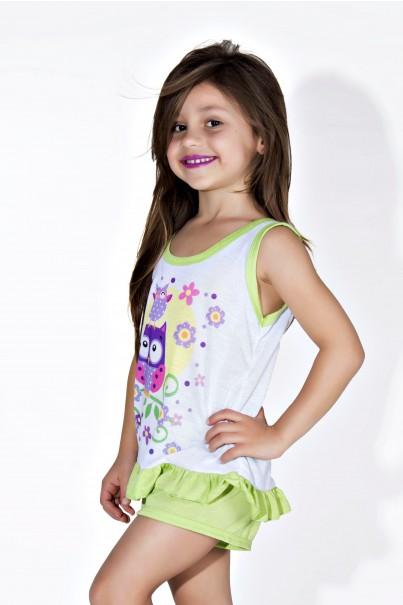 Babydoll Infantil 059 (Verde com corujas)