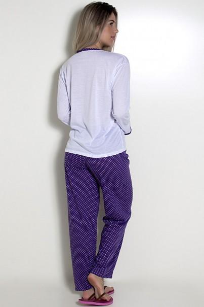 Pijama feminino longo 246 (Roxo com borboleta)