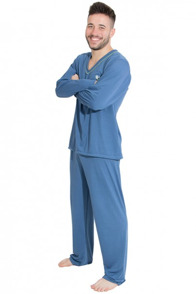 Pijama Mas. Longo 080 (Azul Acinzentado) | Ref: CEZ-PLM01-002