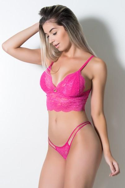 Conjunto de Renda sem Bojo 455 (Rosa Pink) | Ref: KS-B244-003