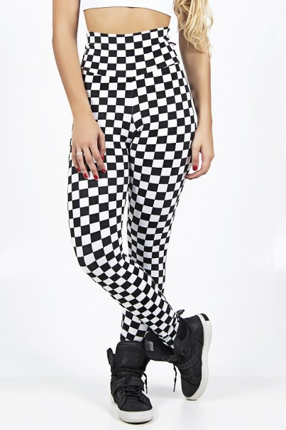 Legging Estampada Quadriculado Preto e Branco | Ref: CA512