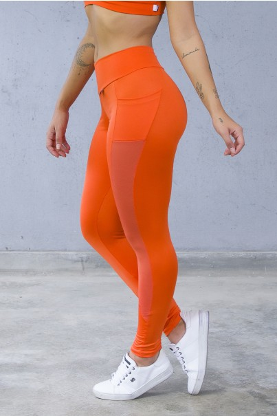 Calça Paula Lisa com Detalhe Dry Fit e Bolso (Laranja) | Ref: KS-F584-006