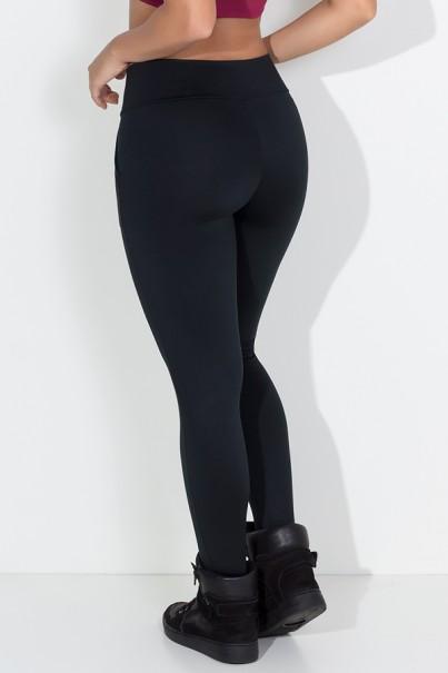Calça Legging Lisa com Bolso (Preto)   Ref: KS-F146-001