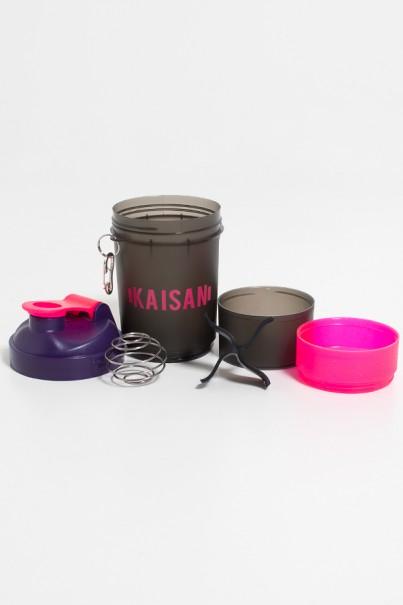 Coqueteleira de 500 ML com Mola e 2 Compartimentos (Fumê + Roxo + Rosa com Glitter) | Ref: KS-CK02-003