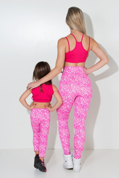 Kit com 5 (cinco) Leggings Infantis Estampadas com Costura Lateral (Cores Variadas) (M) | Ref: KS-KI04-002