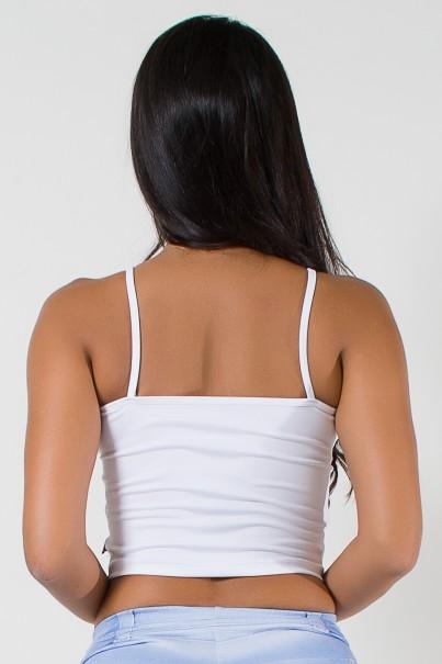Cropped de Alcinha Liso com Recorte (Branco) | Ref: KS-F1793-001